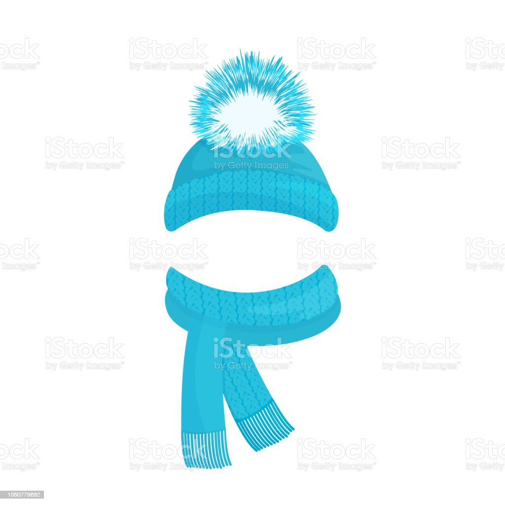72840869c052 Winter knitted blue hat with a pompom and a scarf with fringe royalty-free  winter
