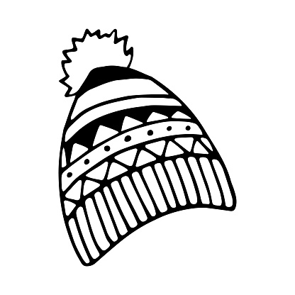 Winter knitted cap doodle element