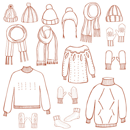 Winter knitted clothes set .  Vector   illustration.