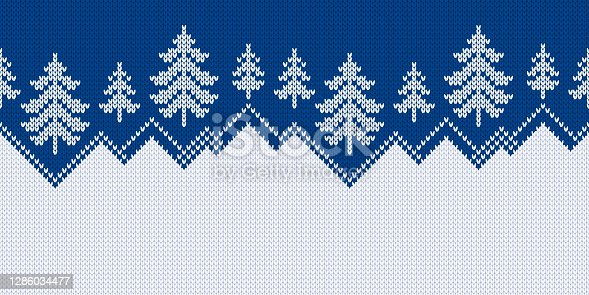 Winter sweater with Christmas trees and snowdrifts. Norwegian seamless knitting pattern. Fair Isle design. Holiday traditional wide background with text place. Vector illustration.