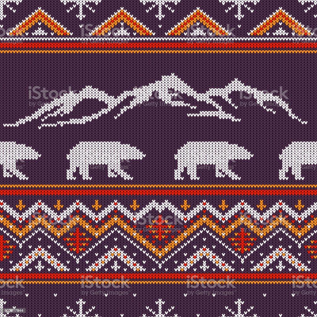 Patrón punto de lana invierno con osos polares en un fondo de montañas nevadas - ilustración de arte vectorial