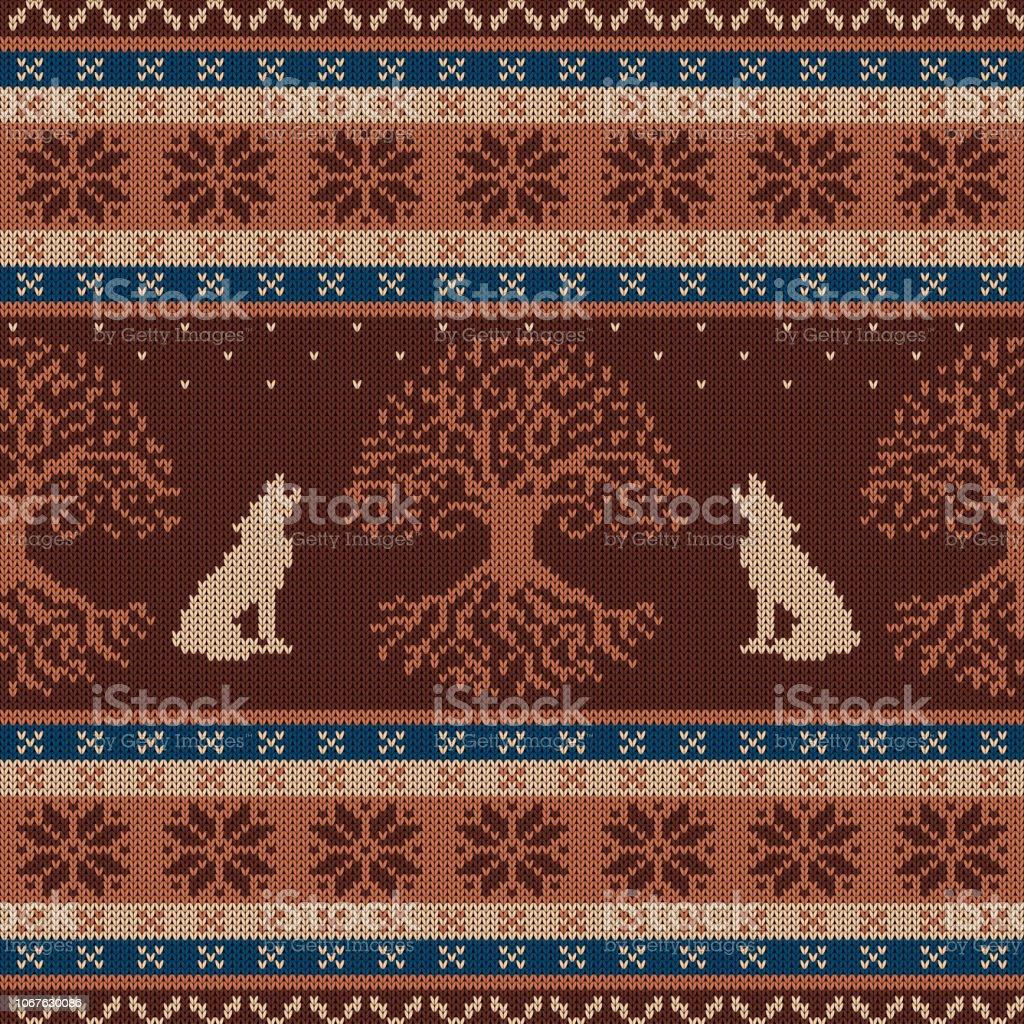 Invierno punto lana de patrones sin fisuras con el árbol de la vida y el aullido de lobos - ilustración de arte vectorial