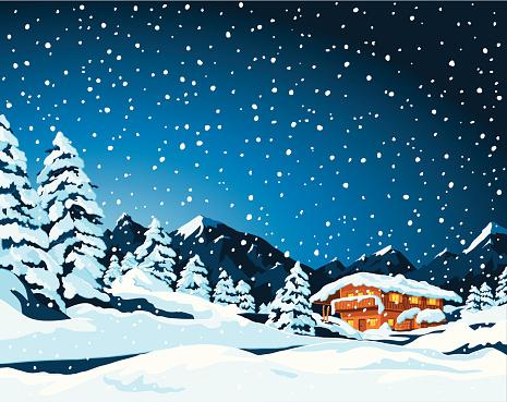 Winter Landscape and Cabin