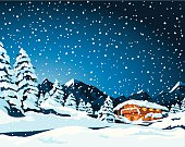 Hand-drawn Vector Illustration of a fictional winter landscape with a mountain shelter. Sky, landscape and snow are on different layers, so you could easily use the image also without snowfall, for example. The colors in the .eps-file are ready for print (CMYK). Included files: EPS (v8) and Hi-Res JPG.