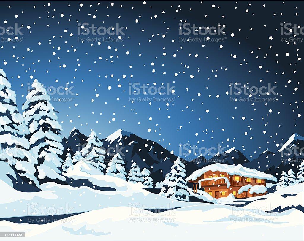 Winter Landscape and Cabin vector art illustration