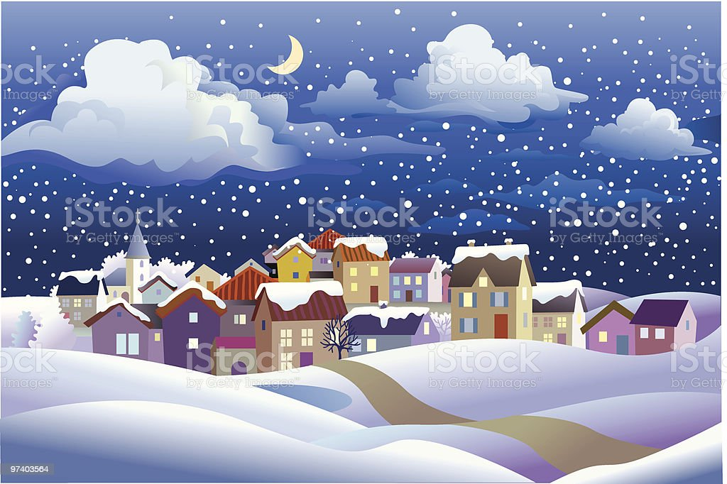 Winter Landscape at Night in Small Town royalty-free winter landscape at night in small town stock vector art & more images of architecture