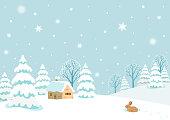 Winter,landscape,sky,snow,forest,tree,nature,rabbit,holiday,Christmas,scene,house,background,design,illustration