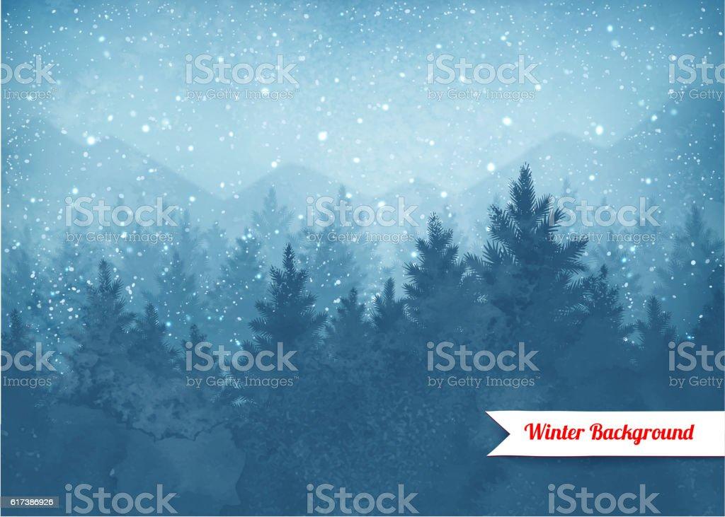 Zimowy krajobraz w tle - Grafika wektorowa royalty-free (Bór sosnowy)