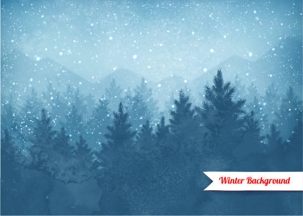 winter landscape background - winter stock illustrations, clip art, cartoons, & icons