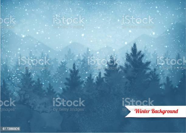 Zimowy Krajobraz W Tle - Stockowe grafiki wektorowe i więcej obrazów Bór sosnowy