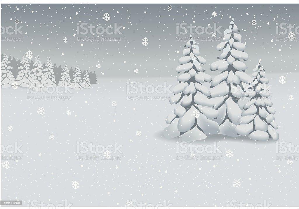 Winter landscape background (vector) vector art illustration
