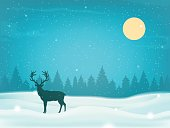 Winter landscape background with winter tree and reindeer silhouette. Vector illustration