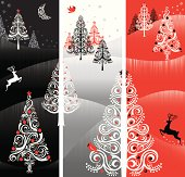 Winter landscape banners with stylized trees.