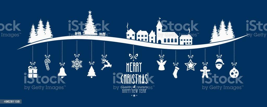 冬景色のクリスマスオーナメント垂れ下がる青色背景 ベクターアートイラスト
