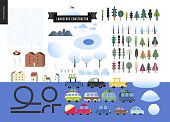 Winter landscape constructor set - kit of city and park landscape elements - houses, snow-covered trees, cars, roads, frozen lake.