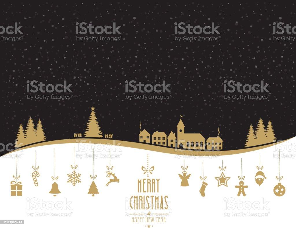 winter landscape golden christmas ornaments
