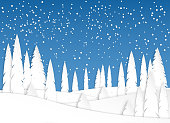 Winter landscape in the afternoon. Snowfall. Snowy fields and trees in the park or forest. Design in paper art style. Vector illustration