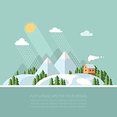 Winter landscape mountains snow-capped hills. flat vector illustration