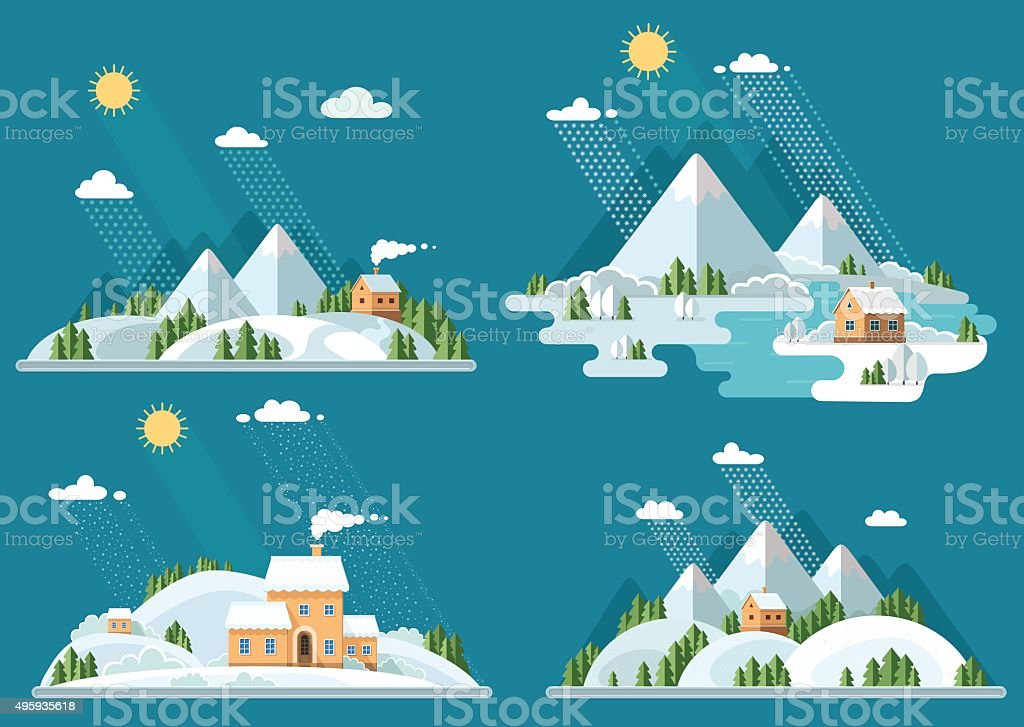 Winter landscape mountains snow-capped hills set icons. flat vector illustration vector art illustration