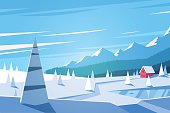 The hills, the forest, the lake and the huge snowy mountains. Little red house. Vector illustration.