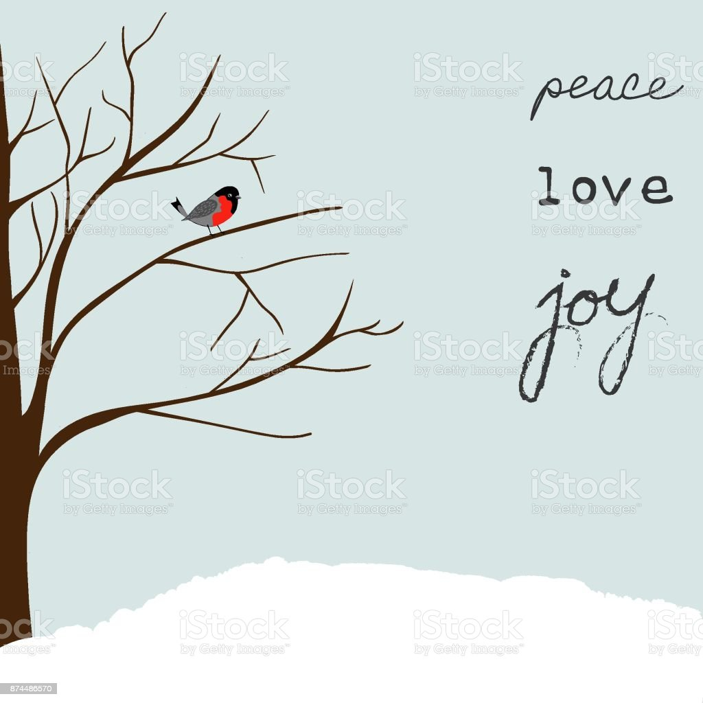 Winter Landscape Scene. Christmas New Year Greeting Card. Forest Falling Snow Red Capped Robin Bird Sitting on Tree. Blue Sky. Lettering Peace Love Joy vector art illustration