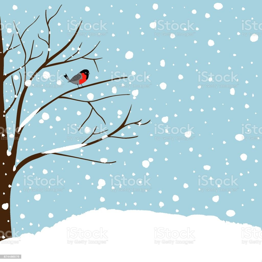 christmas new year greeting card forest falling snow red capped robin