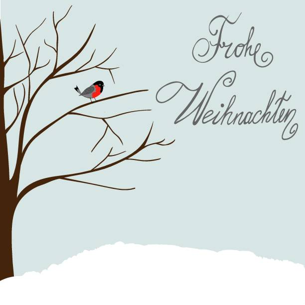 winter landscape scene. new year greeting card. forest falling snow red capped robin bird sitting on tree. blue sky. hand lettering in german language merry christmas frohe weihnachten - weihnachten stock illustrations
