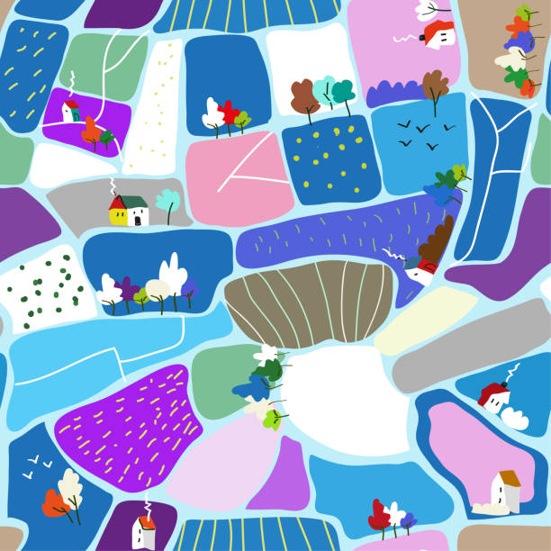 winter landscape seamless pattern illustration - wood texture stock illustrations