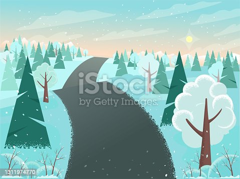 istock Winter landscape. Snow-covered trees on the hills, the road going into the horizon. A symbol of travel and tourism. 1311974770