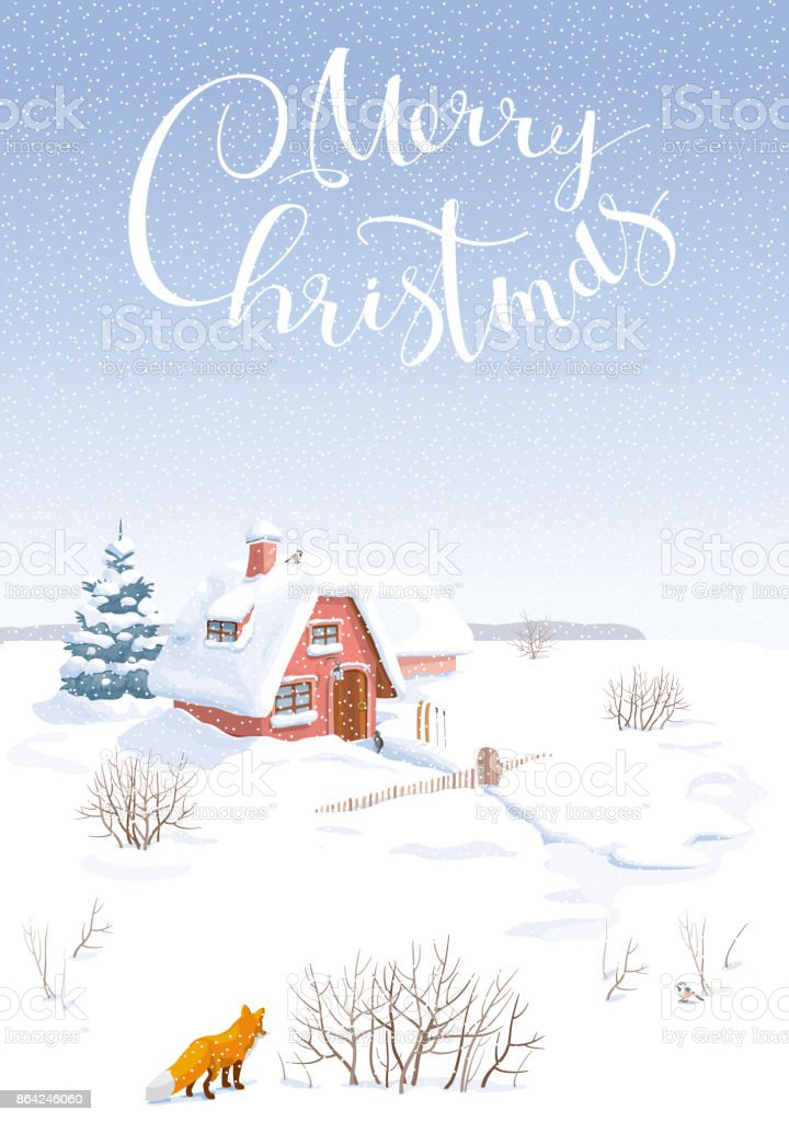 Winter landscape vector  Christmas card royalty-free winter landscape vector christmas card stock vector art & more images of blue
