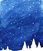 winter landscape snowing painted background