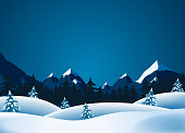 Vector illustration of winter landscape with mountains range and pine trees forests in the snow. Vector eps and high resolution jpeg files included
