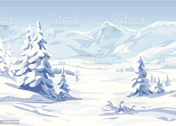 Winter Landscape Stock Illustration - Download Image Now
