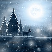 Winter landscape with deer and moon. Vector Illustration EPS10 transparency effect.