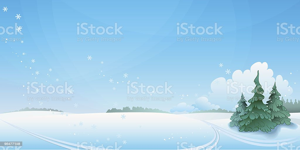 Winter landscape. vector art illustration