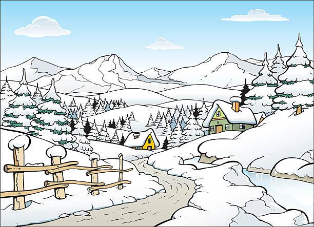 winter-landschaft - lärchenzaun stock-grafiken, -clipart, -cartoons und -symbole