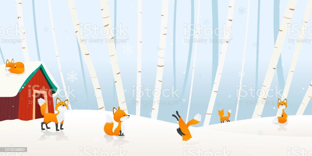 Winter landscape vector illustration. Fox village in the winter forest background. vector art illustration