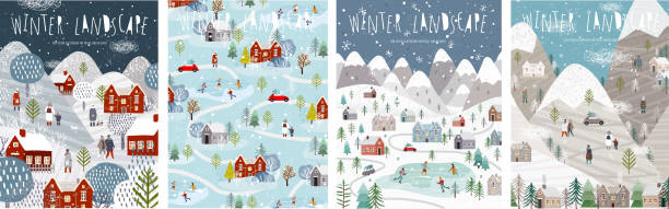 ilustrações de stock, clip art, desenhos animados e ícones de winter landscape. vector illustration of nature, city, houses, people, trees and mountains in the new year and christmas holidays. drawings for poster, background or card. - passagem de ano
