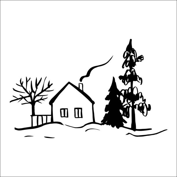 stockillustraties, clipart, cartoons en iconen met het landschap van de winter met een huis. - pinaceae
