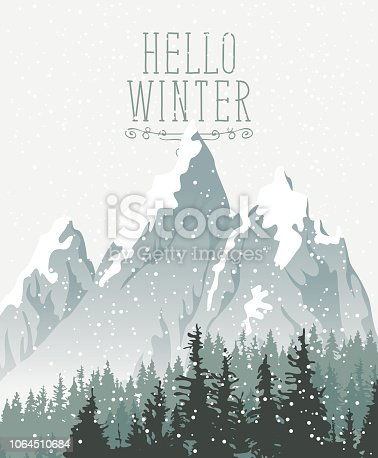 Vector winter banner with words Hello Winter. Winter snowy landscape with snowfall and tops of centuries-old fir trees on the background of snow covered mountains