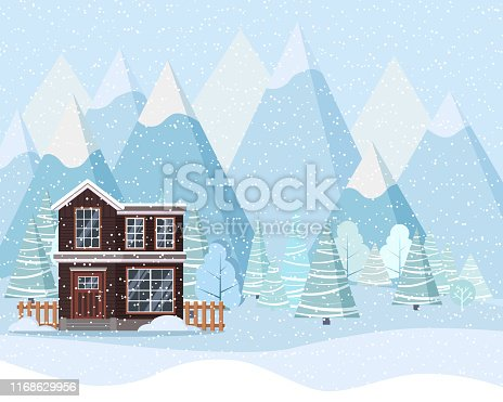 Winter landscape with country house, winter trees, spruces, mountains, snow in cartoon flat style. Christmas vector background illustration.