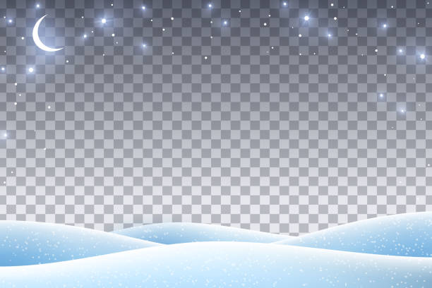 Winter landscape with empty space Winter landscape with empty transparent space for 2019 Happy New Year and Merry Christmas Design. Vector illustration. Night sky with stars and crescent, snow drifts. north pole stock illustrations