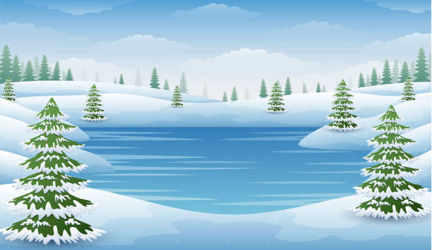 winter landscape with frozen lake and fir trees - pond stock illustrations