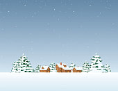 istock Winter landscape with living house 1283880360
