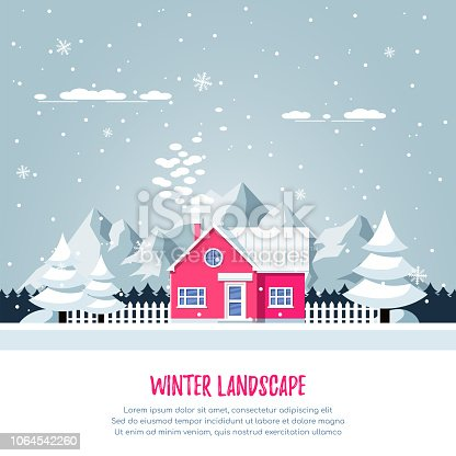 Winter rural landscape with living house, pines, snowdrifts and mountains on background. Flat style illustration