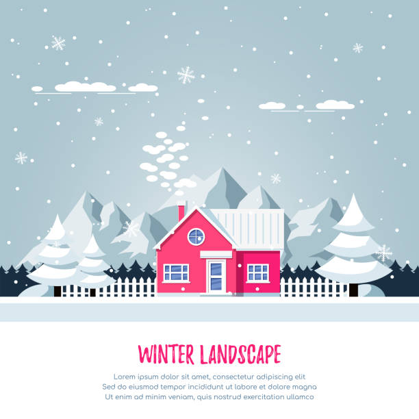 Winter landscape with livivng house. Winter rural landscape with living house, pines, snowdrifts and mountains on background. Flat style illustration cottage stock illustrations