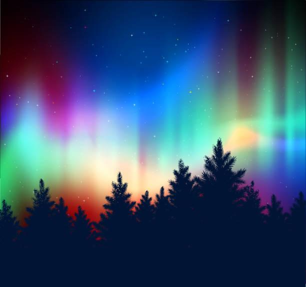 illustrazioni stock, clip art, cartoni animati e icone di tendenza di winter landscape with northern lights - aurora boreale