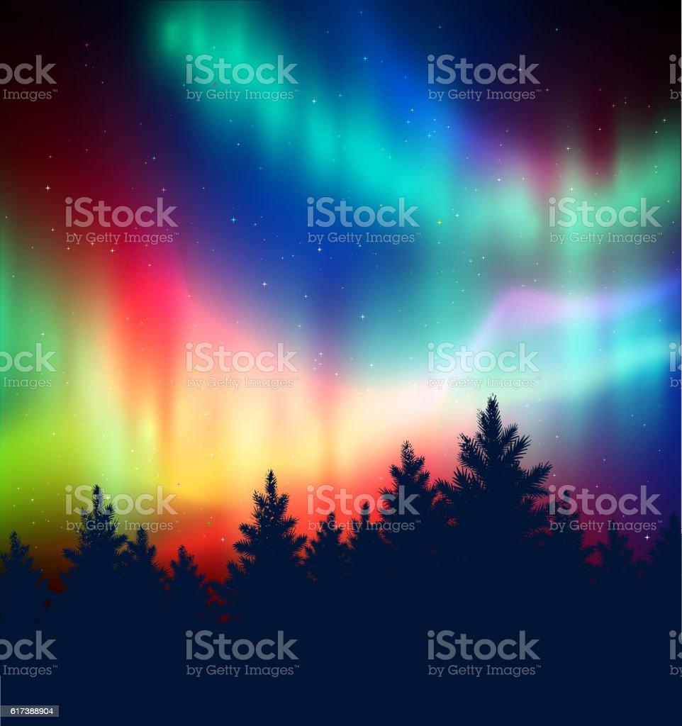Winter landscape with northern lights - ilustração de arte em vetor