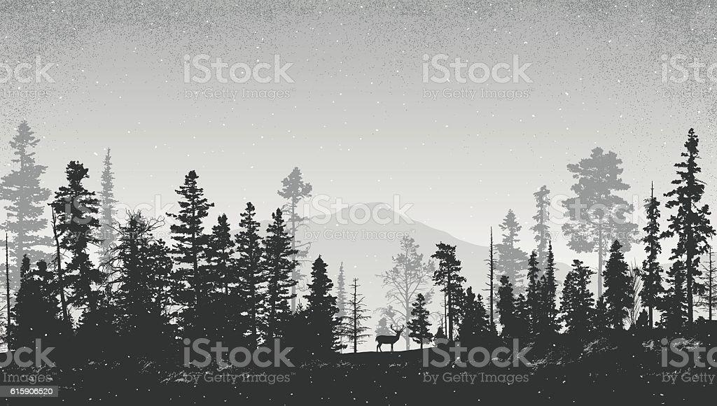 겨울맞이 풍경, 소나무 - 로열티 프리 0명 벡터 아트