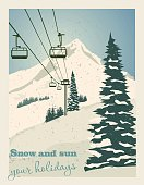 Winter landscape with ropeway station and ski cable cars. Snowy country scene vector illustration. Ski resort concept. For websites, wallpapers, posters or banners